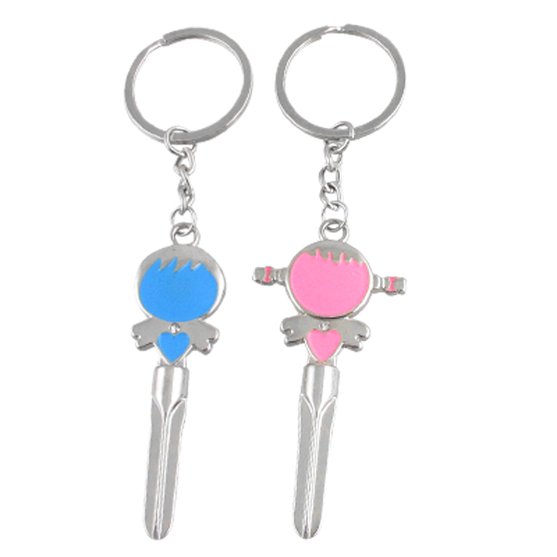 Blue Boy Pink Girl Alloy Keyring 2 Pcs for Couple