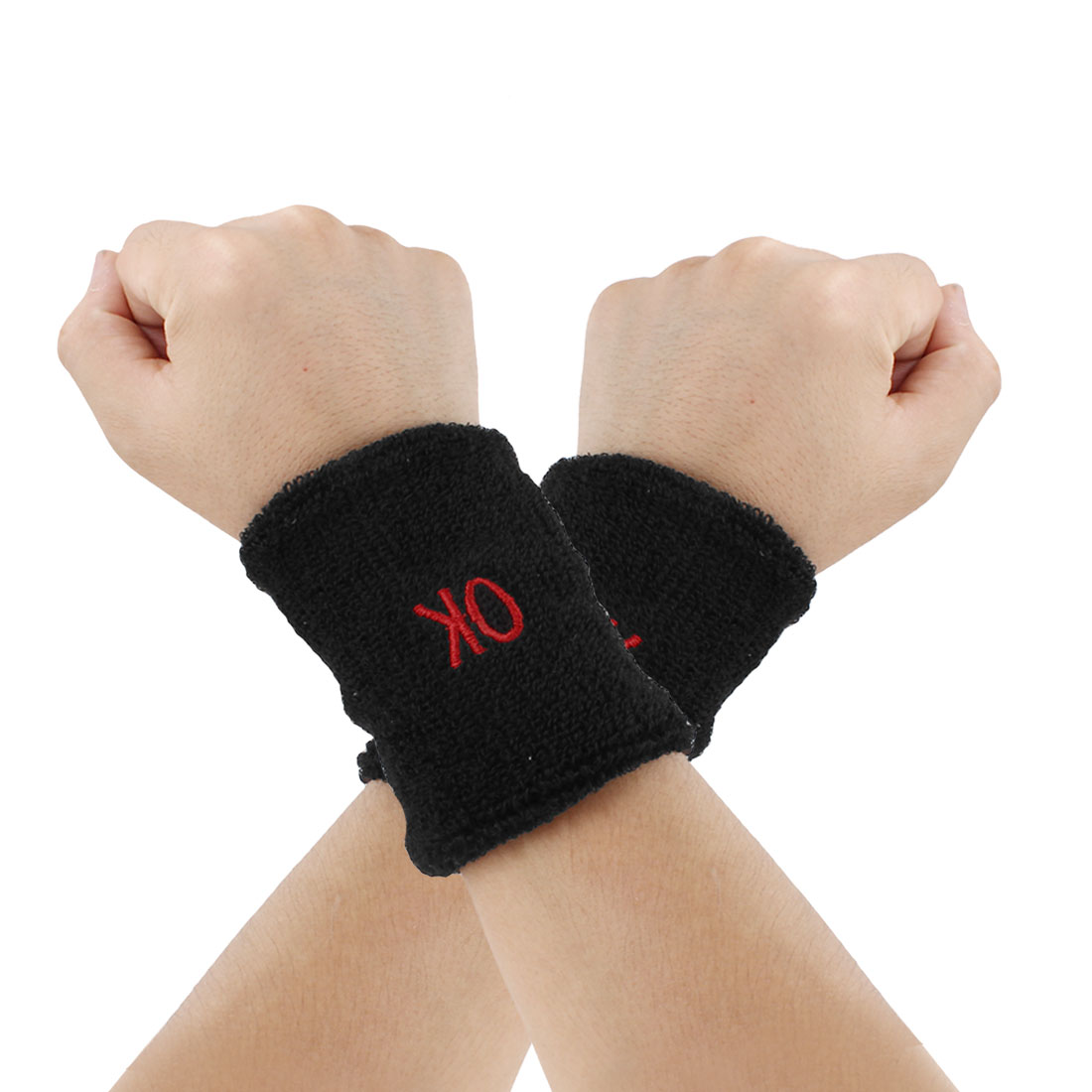 Terry Basketball Wristband Sweatband Support Black 2 Pcs for Sports Athletic