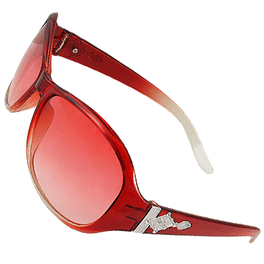 Plastic Red Lens Single Bridge Sunglasses for Women