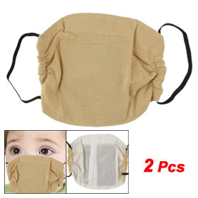 Boys Girls Camel Color Activated Carbon Half Face Mask 2 Pcs