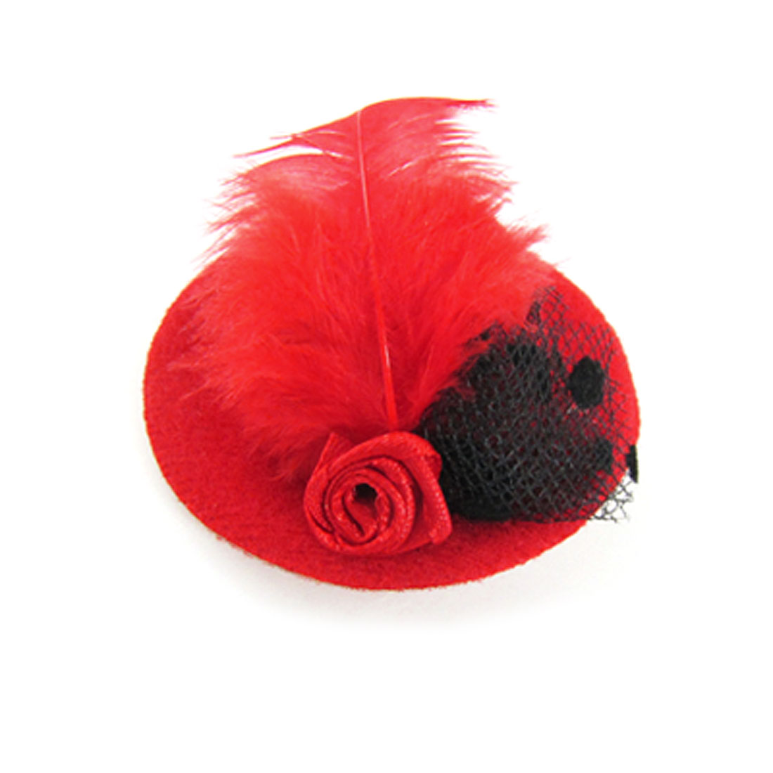 Red Mini Hat Shape Accent Metal Hair Clip for Women