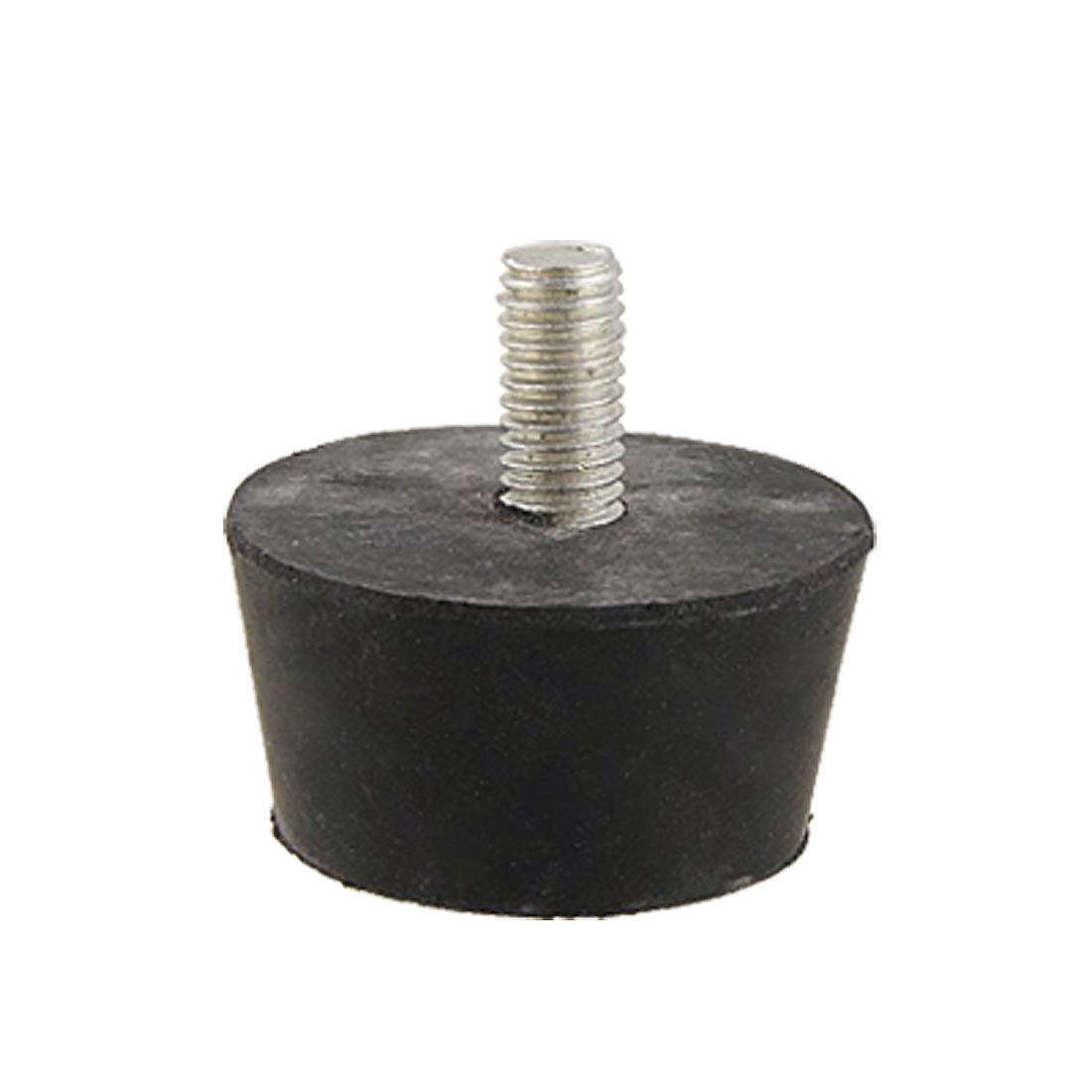 Metal Threaded 8mm Diameter Black Rubber Based Foot