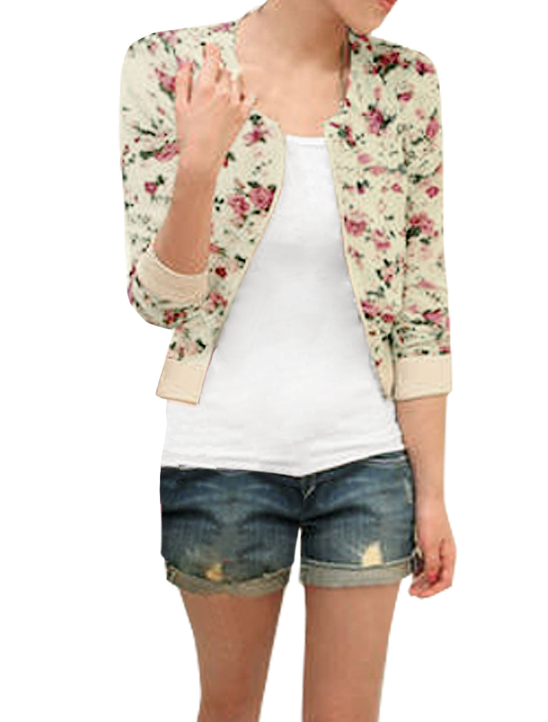 Women Long Sleeve Zip up Flower Pattern Cropped Jacket Beige XS