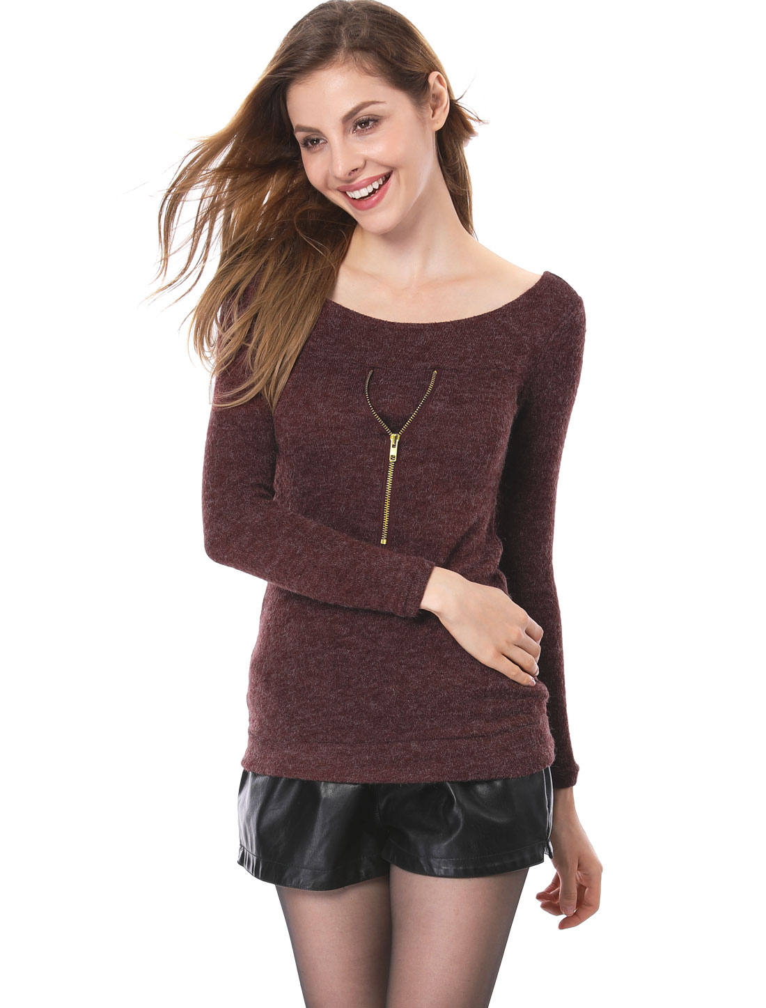 Women Boat Neck Gold Tone Zipper Decor Burgundy Kint Sweater S