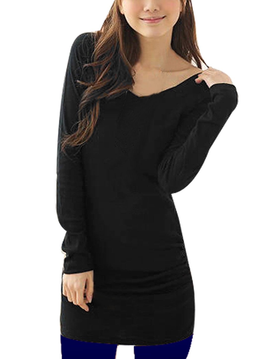 Women Long Sleeve Double V Neck Tunic Shirt Black XS