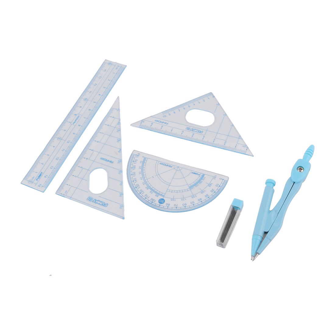 Blue Compass Set Square Protractor 15cm Plastic Ruler