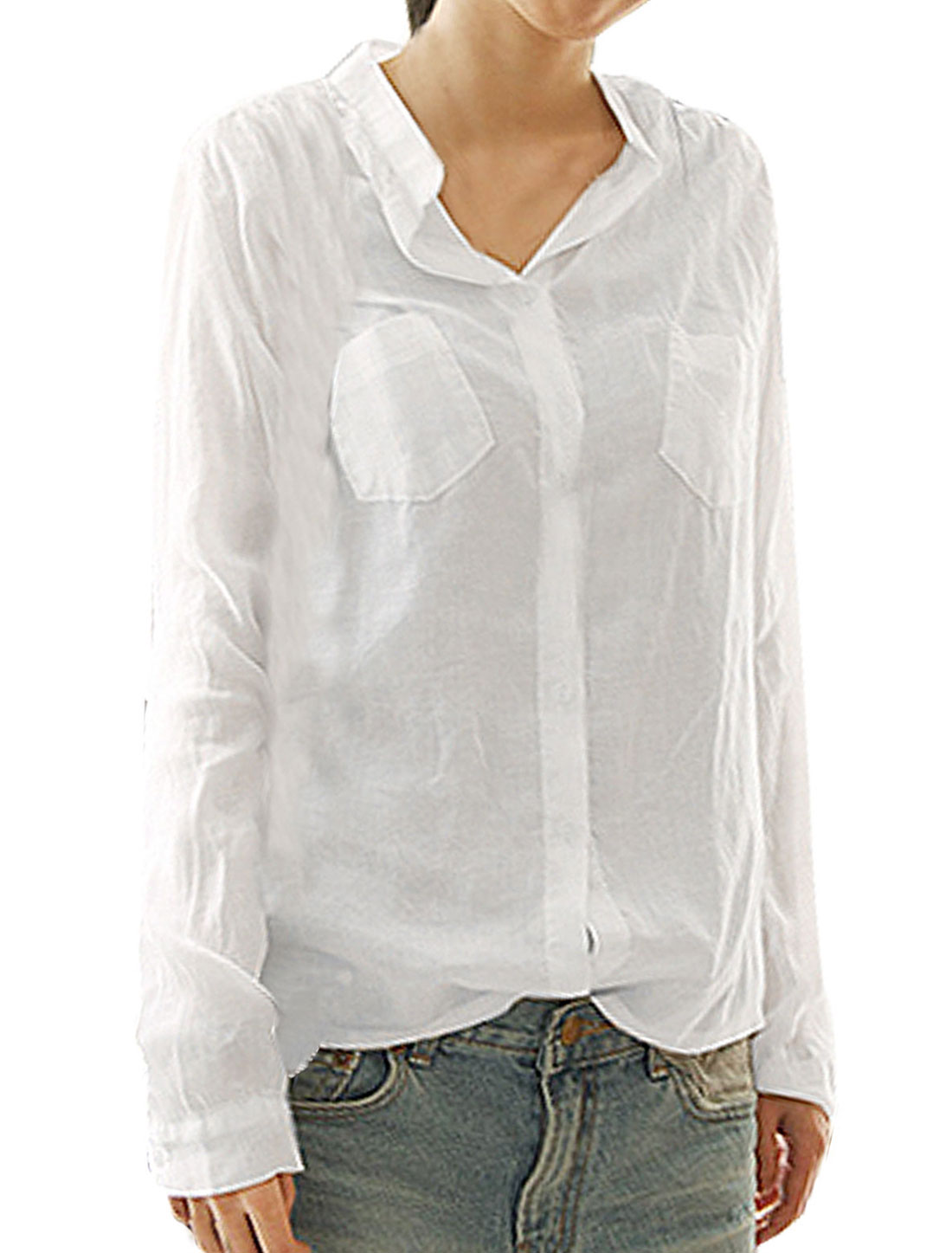 XS White Button Cuff Closure Stand Collar Blouse for Women