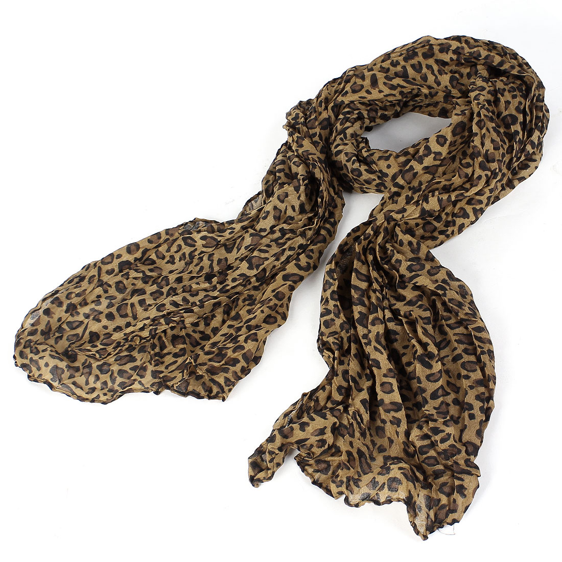 Leopard Pattern Light Brown Wrinkle Scarf Shawl for Women
