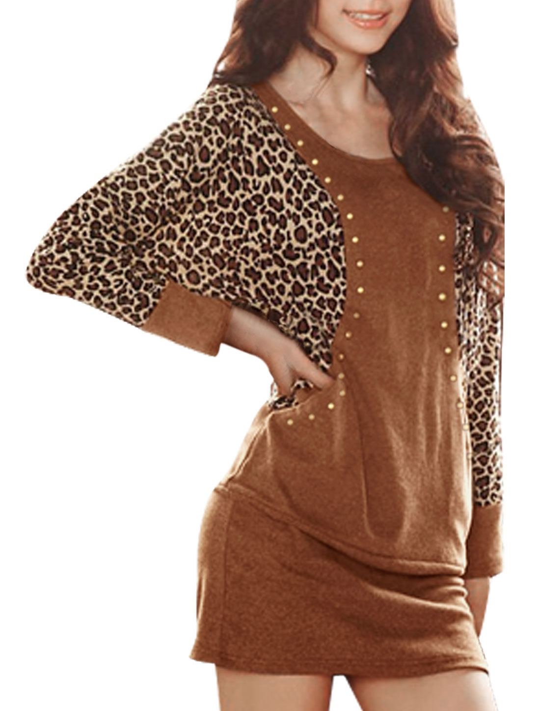 Women Brown Scoop Neck Leopard Print Long Sleeves Mini Dress S