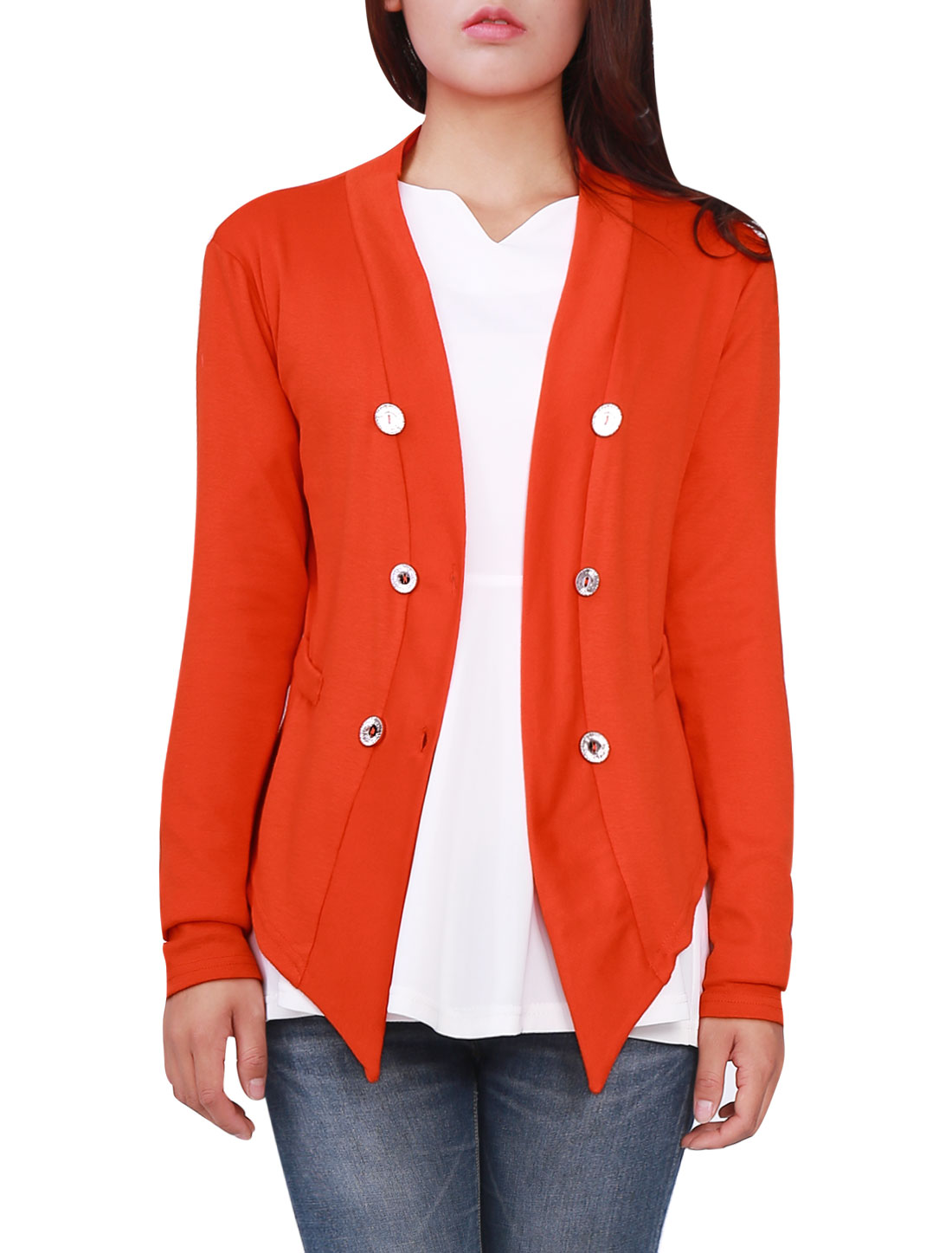Women Dark Orange Deep V Neck Button Up Autumn Thin Cardigan XS