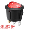 AC 6A/250V 10A/125V Red Light ON-OFF SPST Snap in Round Boat Rocker Switch 3 Pin