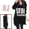 Women Long Sleeves Letters Print Loose Hooded Tunic Top Black S