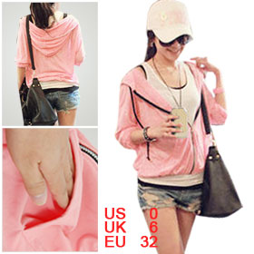 Woman Salmon Pink Slant Pockets Dawstring Hooded Sweatshirt XS