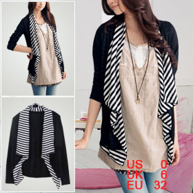 Women Striped Chiffon Hem Black Long Sleeves Buttonless Jacket XS