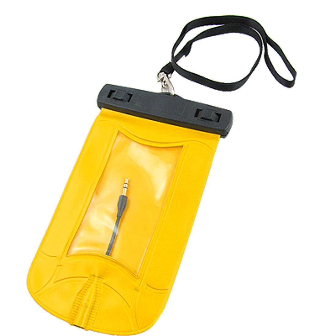 Swimming Drifting Waterproof Pouch Yellow w Earphone for Cell Phone