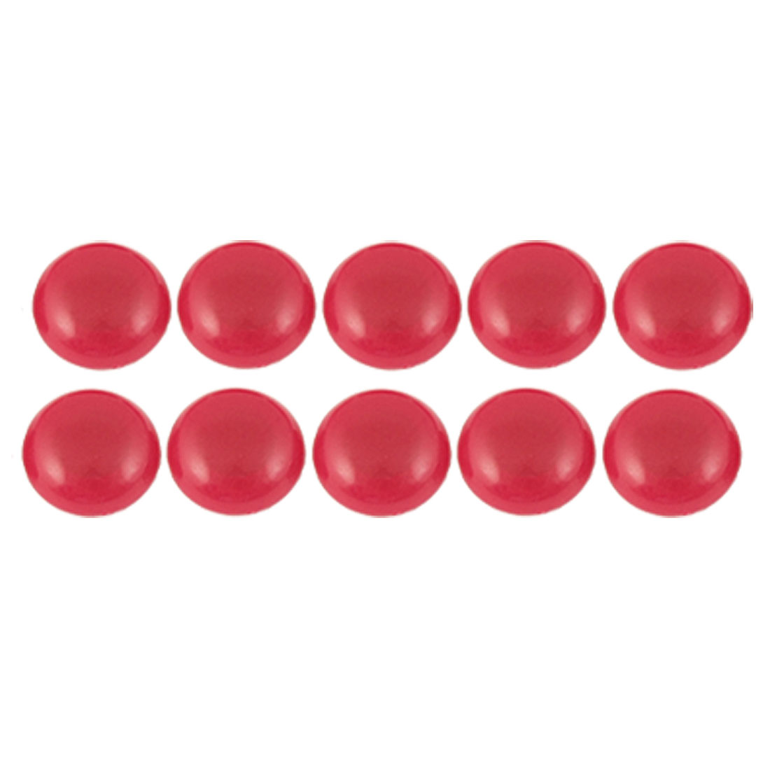 "10 Pcs 0.8"" Diameter Round Red Plastic Cover Magnetic Stickers"