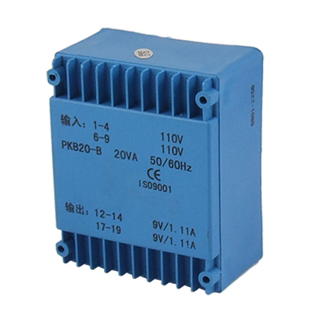 20VA Double Way Output Epoxy Resin Sealed Encapsulated Transformer 110V