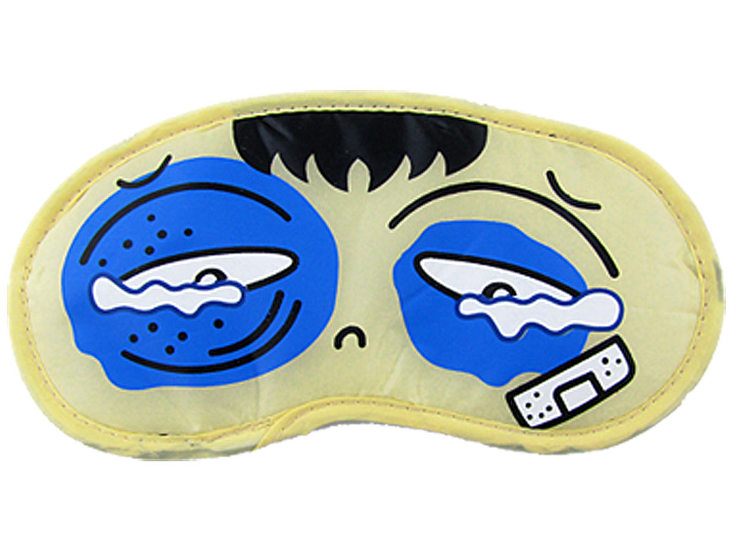 2 Pcs Heavy Hit Head Cartoon Print Soft Sleeping Eye Mask Beige