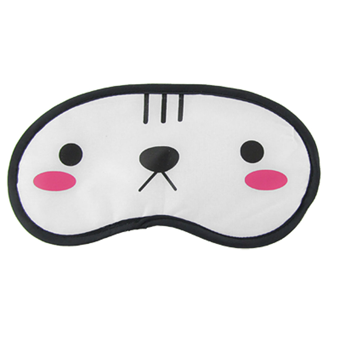 Cartoon Cat Face Pattern Travel Nylon Sleep Eye Shade Mask Cover White