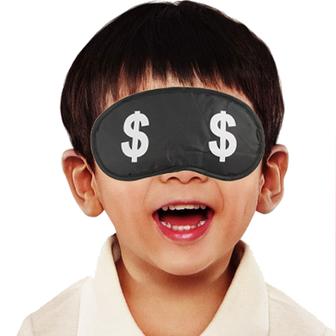 White Dollar Sign Black Eye Shade Mask w Elastic Strap