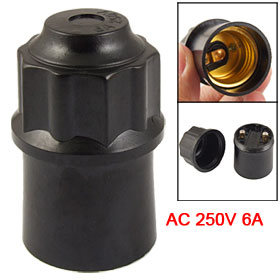 E27 Socket Black Plastic Drop Light Lamp Bulb Holder AC 250V 6A