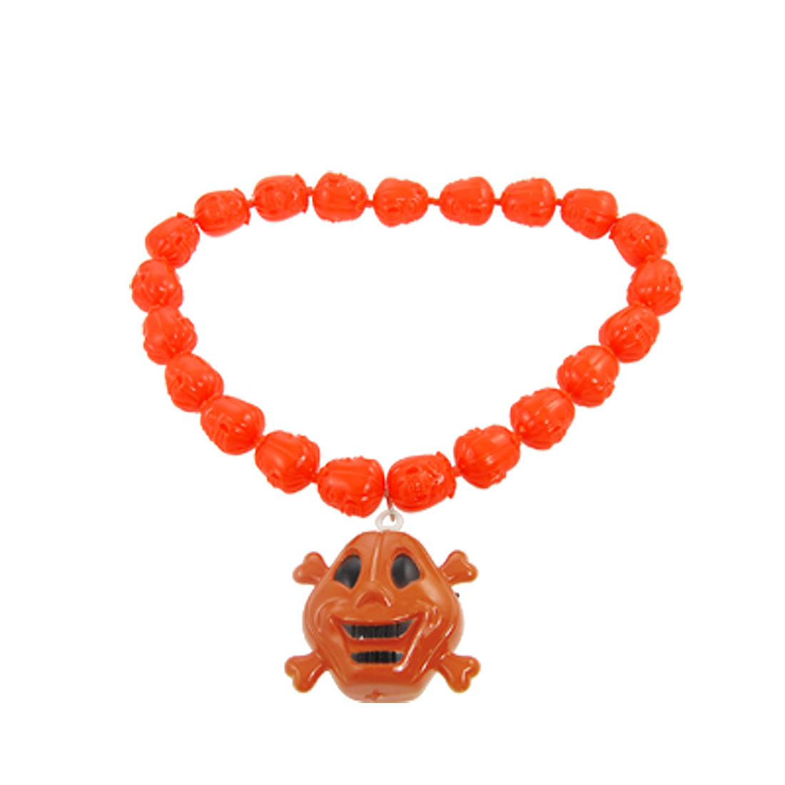 Halloween Blue Red Light Jack O Lantern Beads Skull Pendant Necklace