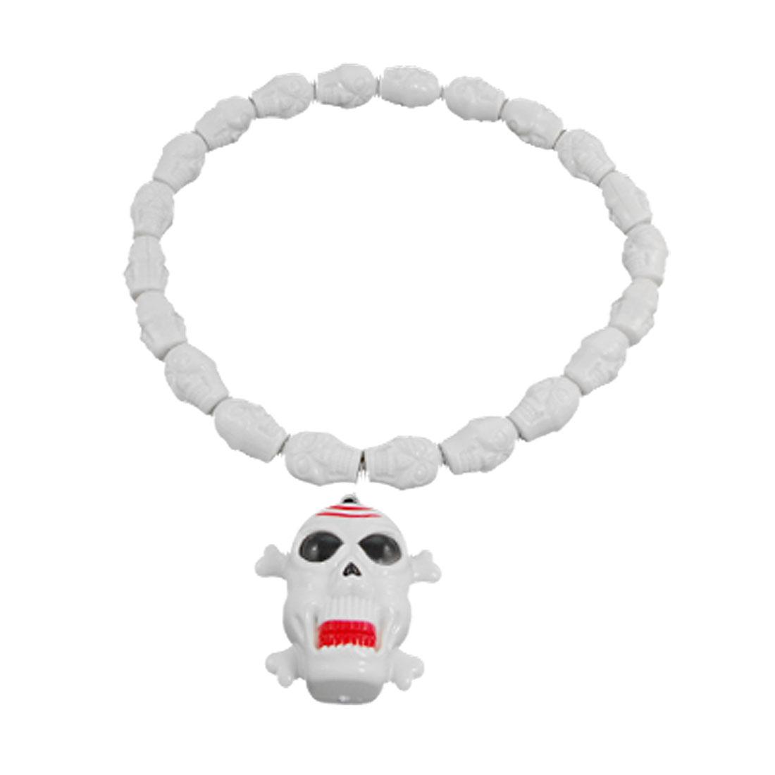 Halloween Sound Light Maker Plastic Skull Design Necklace White