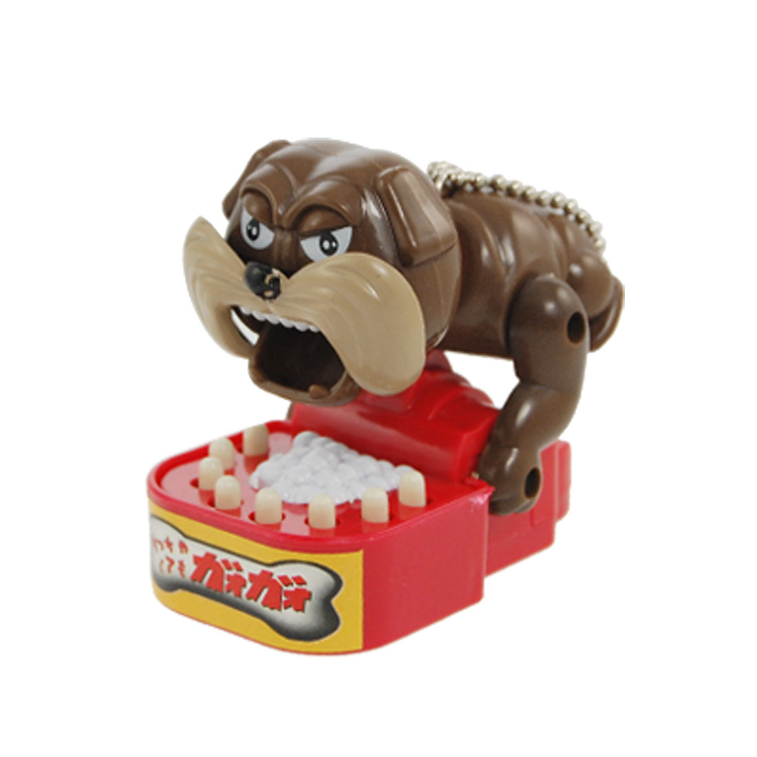 Children Plastic Dog Bite Design Trick Toy Brown Red w Key Chain