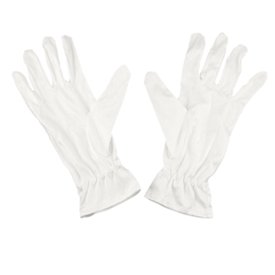 Pair White Microfiber Dust Proof Jewelry Silver Inspection Working Gloves S