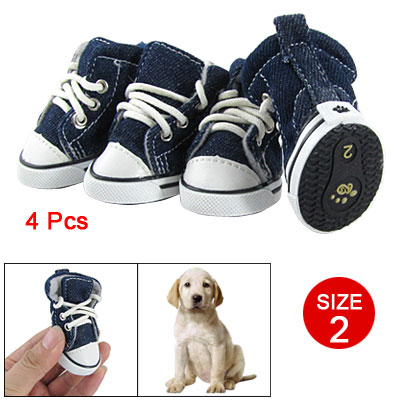 4 Pcs Size 2 Nonslip Sole Flannel Lining Sneaker Shoes Dark Blue for Pet Dog