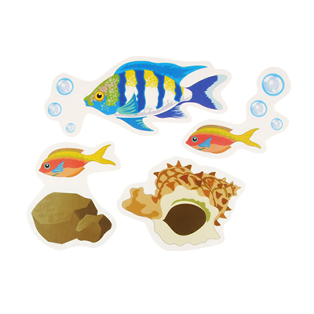 Art Wall Paper Adhesive Sticker Sea World Fish Decals 4 Pcs