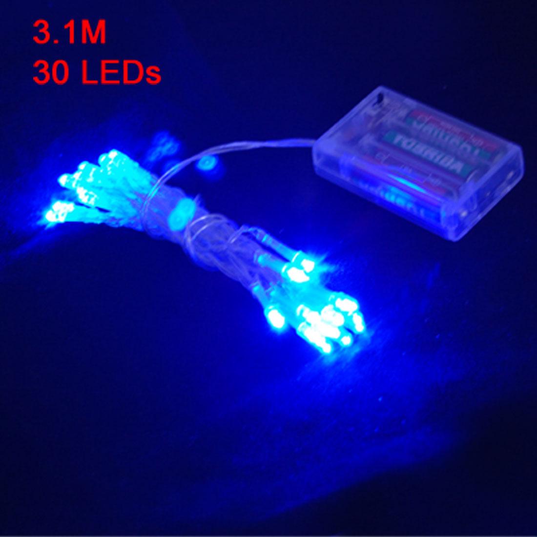 Wedding Xmas Blue 30 LEDs String Battery Light Lamp Decoration 3.1M