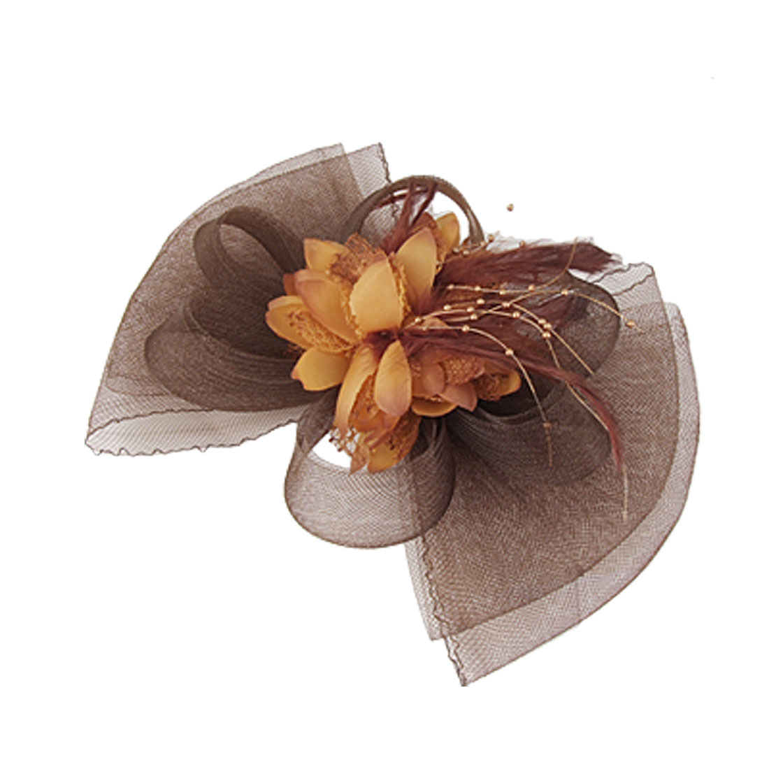 Women Brown Mesh Feather Fascinator Flower Hair Clip