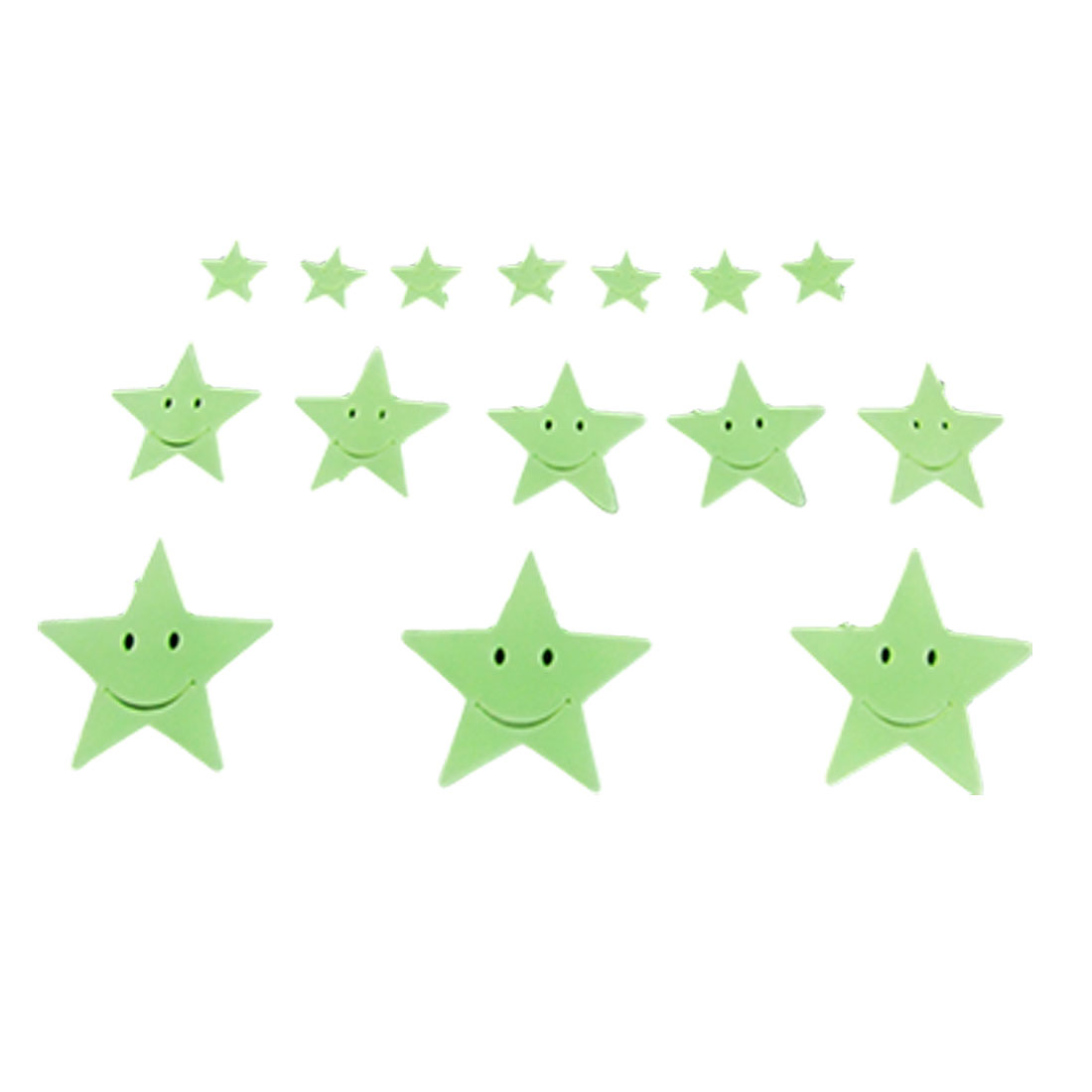 Home Ceiling Wall Decor Luminous Smiling Stars Stickers 15 Pcs