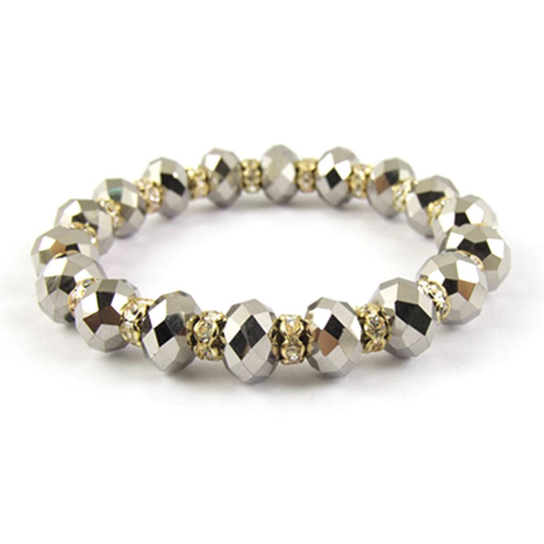 Rhinestone Decor Gray Plastic Faceted Crystal Elastic Bracelet