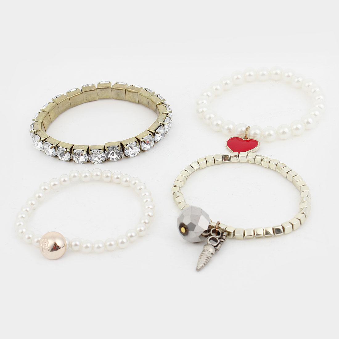 Ladies 4 Pcs White Imitation Pearl Clear Crystal Elastic Bracelets Set
