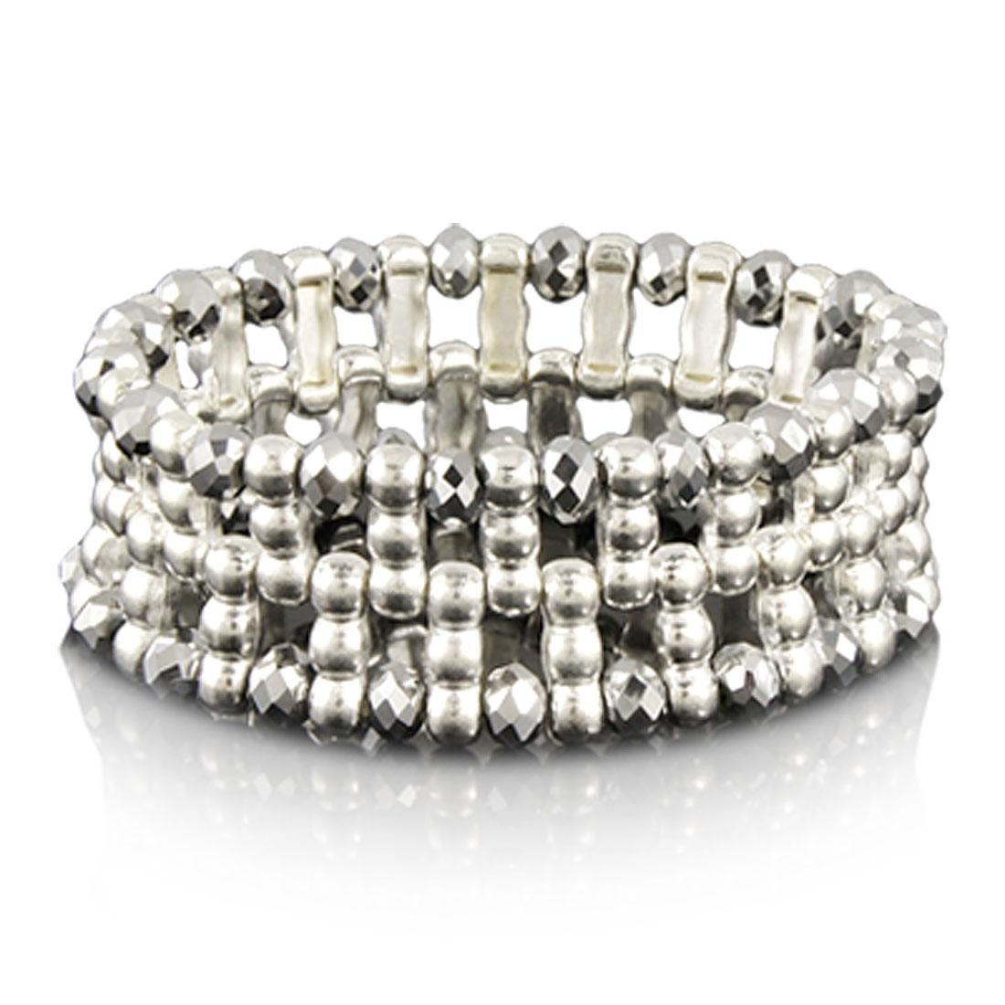 Gray Plastic Crystal Beads Elastic Bracelet for Women
