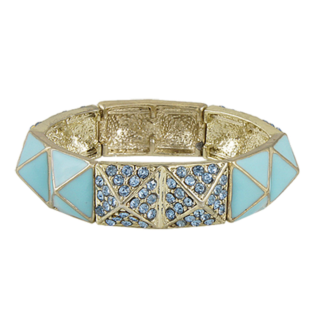 Women Rhinestone Decor Blue Ceramic Wrist Bracelet