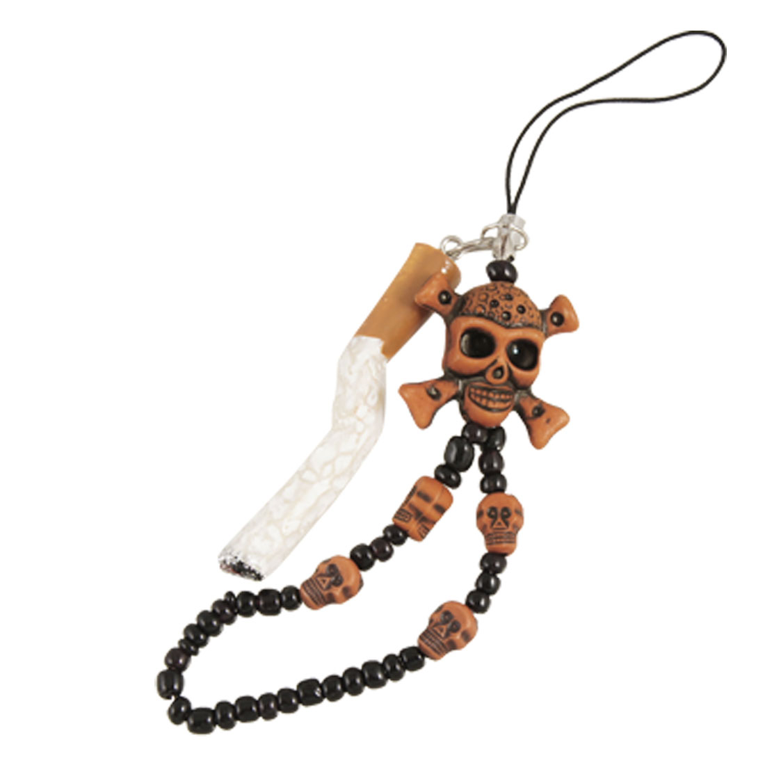 Brown Skull Pendant Charm Strap 5 Pcs for Mobile Phone