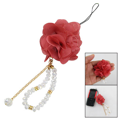 Plastic Crystal Pendants Red Flower Accent Cell Phone Strap