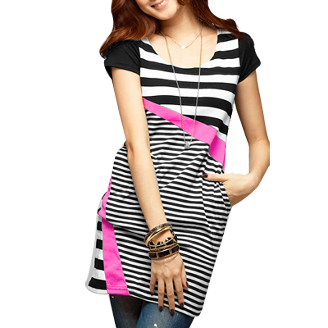 Women Black White Stripe Scoop Neck Short Sleeves Tunic Shirt XS