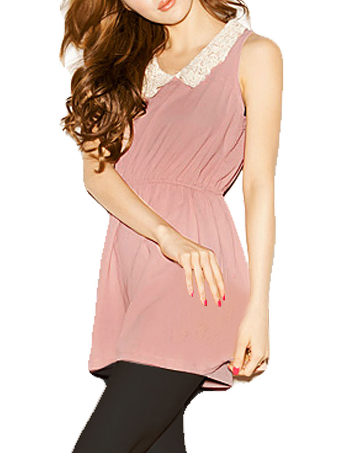 Women White Lace Peter Pan Collar Sleeveless Pink Tunic Shirt XS