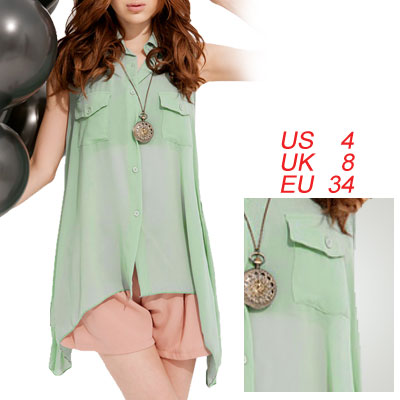 Women Pale Green Point Collar Hanky Hem Chiffon Blouse S