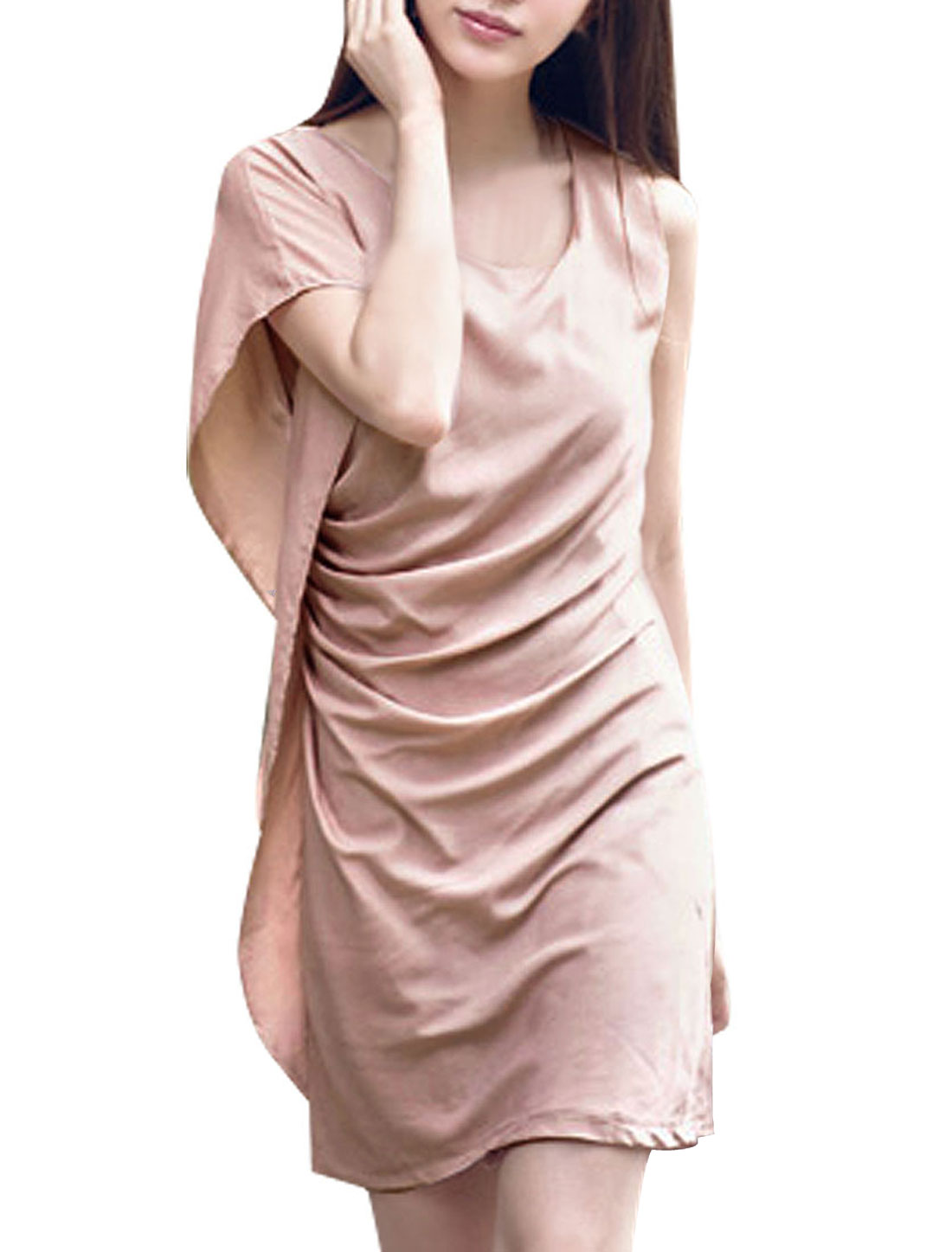 Women Scoop Neck Flutter Sleeve Ruched Straight Dress Pink XS