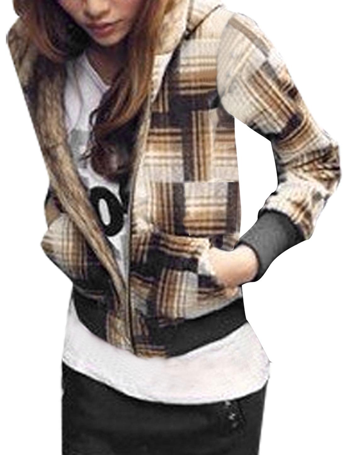 Women Long Sleeve Faux Fur Hood Plaid Coat Jacket Khaki White XS