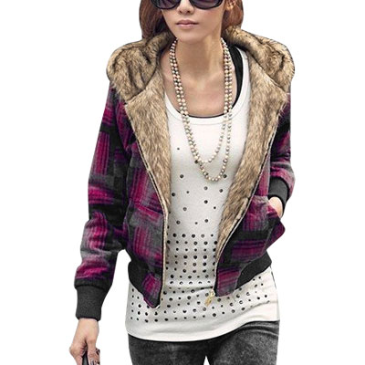Women Fuchsia Gray Long Sleeve Plaid Hooded Coat Jacket XS