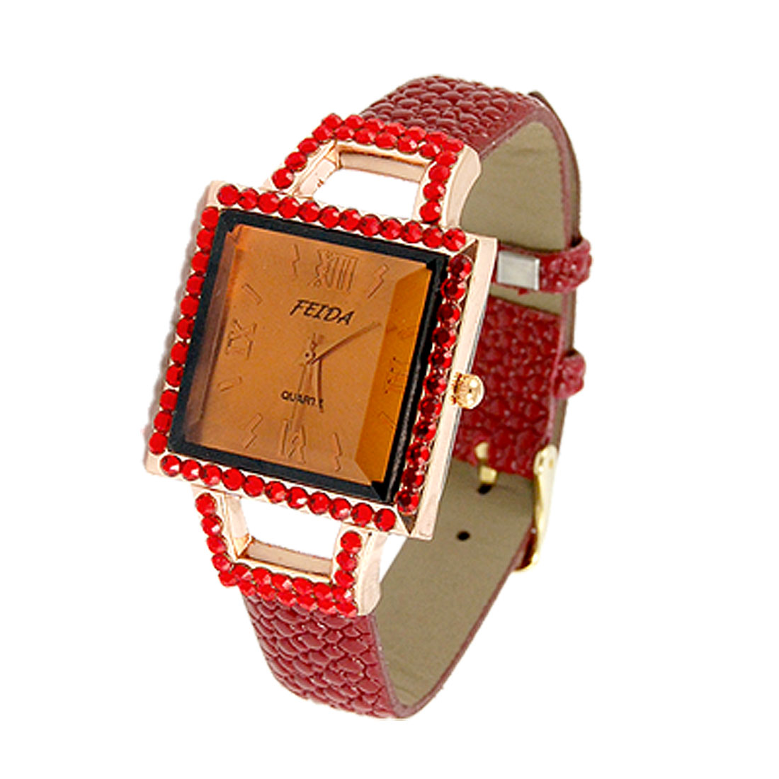 Women Burgundy Faux Leather Snake Pattern Square Dial Watch