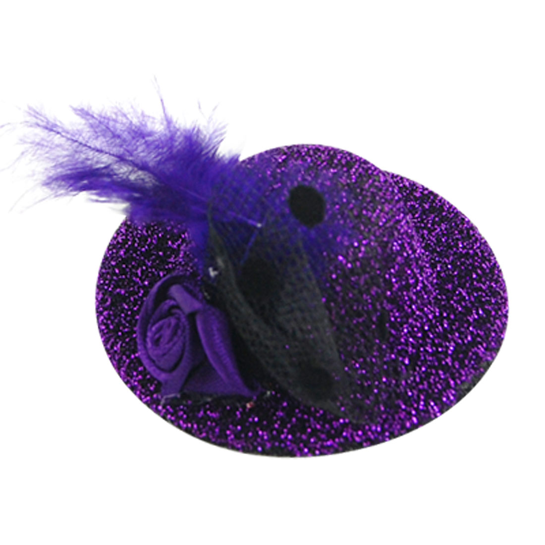 Feather Decor Glitter Purple Mini Top Hat Flower Hair Clip
