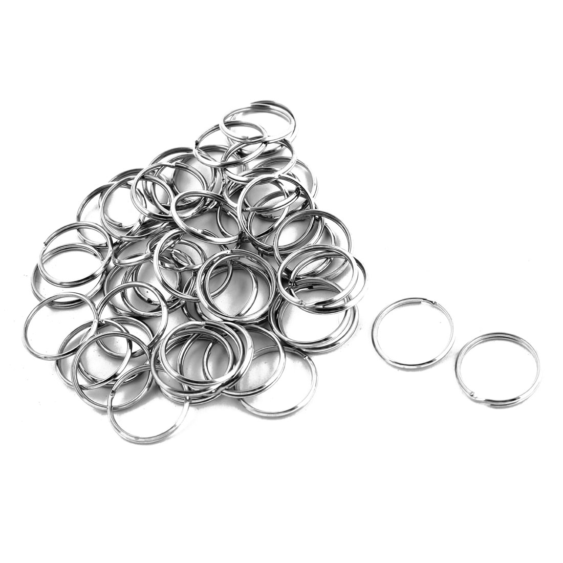 "50 Pcs Silver Tone 1"" Diameter Metal Split Key Rings Keychains"