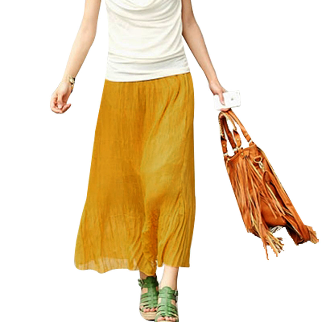 Woman Elastic Waistband Below Knee Pleated Skirt Yellow S